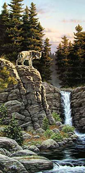 Edge of the Falls ~ wolf by Rick Kelley